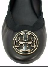 NIB 50008665 Tory Burch CAROLINE MESTICO leather flat pumps BLAK