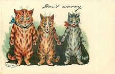 "Louis Wain Funny Cats Don't Worry Cat Art Print, Cat Decor, Cats 4 x 6""-16 x 24"""