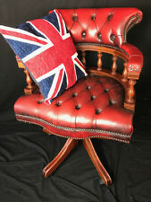 Regency Chesterfield Style Handmade Oxblood Red Leather Swivel Captains Armchair