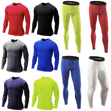 Mens Compression Armour Base Layer Under Skin Fit Long Sleeve Top Leggings Pants