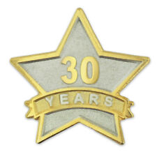 PinMart's 30 Year Service Award Star Corporate Recognition Dual Plated Lapel Pin