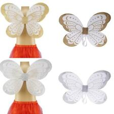 Glitter Kids Girls Party Ribbon Fairy Wings Birthday Party Outfits Silver/Gold