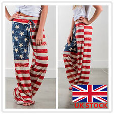 Womens Lasies Full Length Flag Printed Stars Striped Loose Casual Pants Trouser