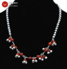 SALE 5-6mm Round Gray Natural Pearl and Red Coral 8 pendants 17'' Necklace-6321