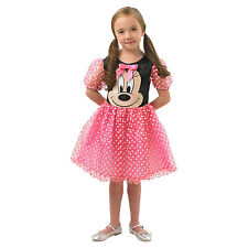Childs Pink Puffball Minnie Mouse Girls Kids Mickey Fancy Dress Costume 888831