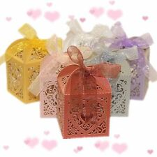 10pcs Heart Favour Box Laser Cut Wedding Sweets Favor Candy Gifts Boxes Box NEW