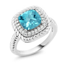 2.75 Ct Cushion Checkerboard Swiss Blue Topaz 925 Sterling Silver Ring