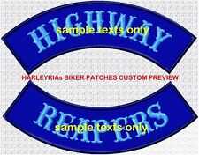 CUSTOM/MADE TO ORDER ROCKERS 300mm  ....COLOURED BACKGROUND BIKER PATCH