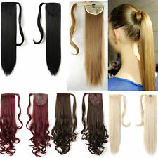 US Real Thick Clip In As Human Hair Extension Pony Tail Wrap Ombre Ponytail Long