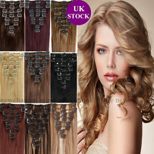 UK Best Clip in Remy Hair Extensions 100% Real Human Hair 90g-120g Straight C407