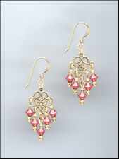 Dainty Gold Filigree Earrings made with Swarovski CORAL SUNSET Crystals