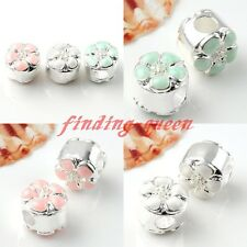 5x Lovely Daisy Flower Silvery European Big Hole Bead Fit Charm Bracelet Finding