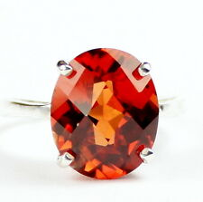 • SR055, Created Padparadsha Sapphire, 925 Sterling Silver Ladies Ring -Handmade