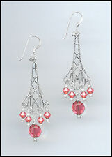 Sparkling Silver Earrings made with Swarovski CORAL SUNSET Crystals
