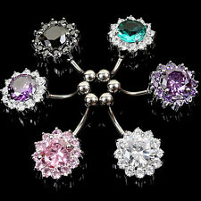 Women Belly Bar Navel Button Ring Rhinestones Surgical Steel Body Jewellery Gift