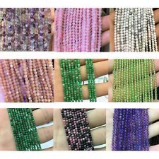 Wholesale Natural Gemstone Beads 2mm 3mm 4mm Smooth Round Spacer Stone Bead 15''