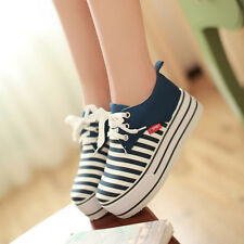 Womens Canvas High Platform Lace Up Casual Spring Tennis Shoes Sneakers