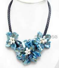 SALE Blue Baroque Shell Flower & Pearl pendant Black Rope 18'' Necklace-nec6334