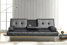 BLACK MODERN FAUX LEATHER SOFA BED DOUBLE CLICK CLACK SETTEE 2-3 SEATER COUCH