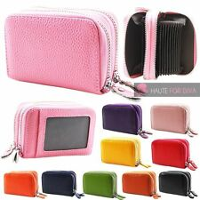 NEW WOMENS REAL LEATHER DOUBLE ZIP COIN POCKET CARD HOLDER PURSE