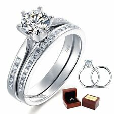1 Ct Lab Created Diamond Sterling 925 Silver Bridal Wedding Engagement Ring Set