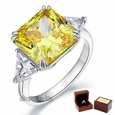 8 Ct Princess Yellow Canary Lab Created Diamond Sterling 925 Silver Bridal Ring
