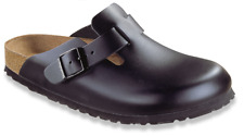 Birkenstock Clogs Boston 060191, Real Leather, Black (Black)