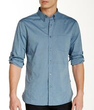 John Varvatos Star USA Men's Roll Up Long Sleeve Stripe Shirt Blue $135 msrp NWT