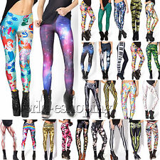 Womens 3D Printed Skinny Stretch Leggings Jegging High Waist Gym Pants Trousers