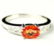 • SR362, 1 carat Created Padparadsha Sapphire 925 Sterling Silver Ring -Handmade