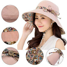 Lady Summer Beach Bowknot Wide Brim Sun Hat Reversible Foldable Cap Creative