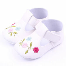 NEW Baby Girl White Leather Mary Jane Flower Crib Shoes 0-6 6-12 12-18 Months