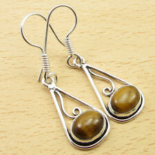 925 Sterling Silver Plated Nouveau DANGLING Earrings, Natural Gemstone CHOICES