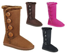 New Girls Faux Suede Boots Fur w/ Buttons Black Brown Fuchsia Pink Tan Kids Tall