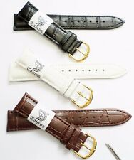 Taurus Genuine Leather Croco Grain Watch Band Gold Buckle 18mm 20mm 22mm 24mm