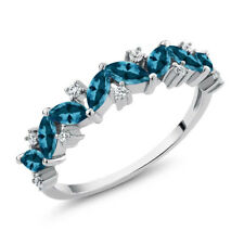 1.50 Ct Marquise London Blue Topaz 925 Sterling Silver Ring