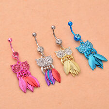 1Pcs Piercing Belly Ring Owl Leaves Rhinestone Navel Button Body Stainless Steel