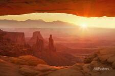 Sunrise over La Sal Mountains, Washer Woman Arch and M... Stretched Canvas Print