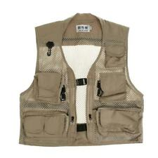 Mens Multi-Pocket Mesh Photography Fishing Vest Outdoor Jacket with Pockets