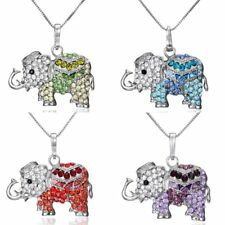 Fashion Crystal Elephant Charm Pendant Chain Necklace Women Jewelry Party Gifts