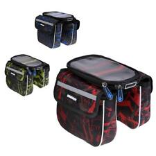 Bicycle Frame Pannier Bike Front Tube Bag Phone Pouch with Screen