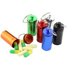 Waterproof Pill Box Case Holder Container Alloy Capsule Bottle Keychain Keyring
