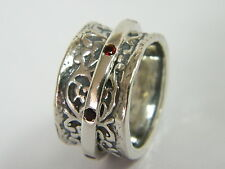 Designed 925 Sterling Silver Ring Garnet CZ Red spinner Ring