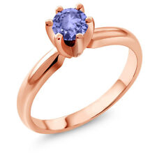 0.46 Ct Round Blue Tanzanite 18K Rose Gold Plated Silver Ring