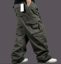 Plus SZ Men Casual Baggy Cargo Overall Military Trousers Loose Pocket Long Pants
