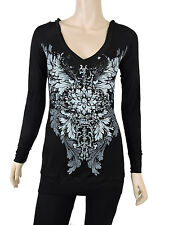 Sugar Rock Women Tunic Hoodie Shirt L/s Western Floral Tribal Rhinestone Black