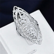 Fashion Cute 925 Sterling Silver Filled Hollow Big Ring Ladies Women Rings SU