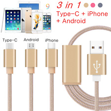 3 in 1 USB Charger Cable Micro Type-C Data Sync Cable For iPhone Android Samsung