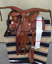 """13"""" NEW TAN LEATHER HARD SEAT WESTERN PLEASURE SADDLE PACKAGE GREAT BUY"""