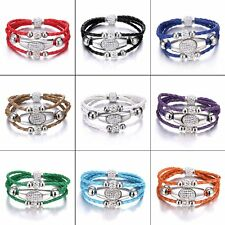 Magnetic Braided Cord Leather Crystal Beads Wristband Cuff Charm Bangle Bracelet